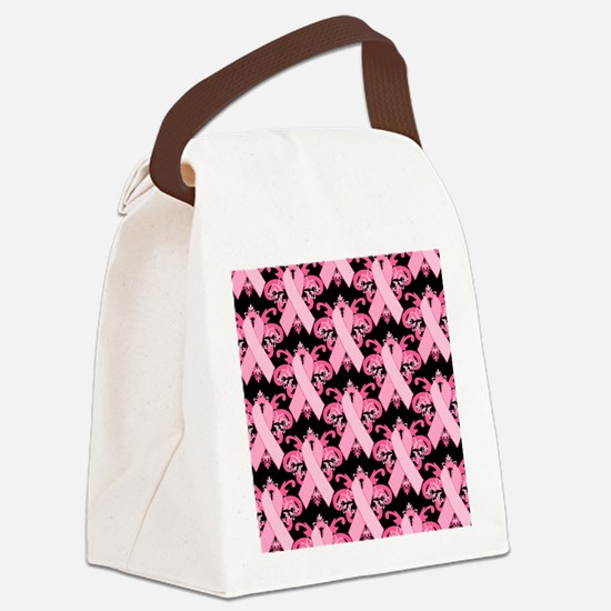 PinkribbonLLLpBsq Canvas Lunch Bag
