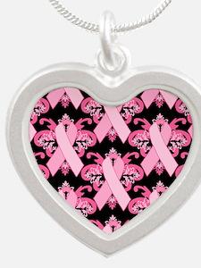 PinkribbonLLLpBsq Silver Heart Necklace