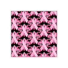 """PinkribbonLLLpBsq Square Sticker 3"""" x 3"""""""