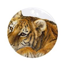 young tiger Round Ornament
