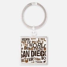 san_diego_brown Square Keychain