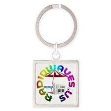 Radio Waves Round Logo Square Keychain
