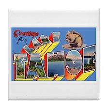 Lake Tahoe Greetings Tile Coaster