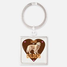 LovedByHeartBrownMerge Square Keychain