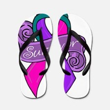 Sketch teal survivor Flip Flops