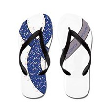 new heart ribbon ROYAL survivor Flip Flops