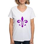 Fleur De Lis Purple Women's V-Neck T-Shirt