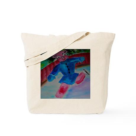 Flying Pig on Skates Tote Bag