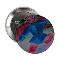 "Flying Pig on Skates 2.25"" Button"