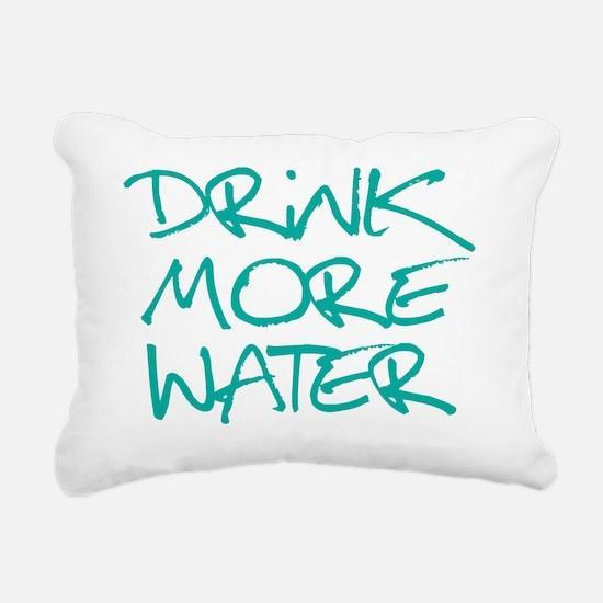 DrinkMoreWater_Blue2 Rectangular Canvas Pillow