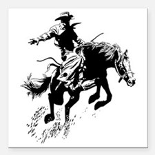 "bronc-bow Square Car Magnet 3"" x 3"""