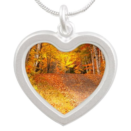 AutumnFoliageRural_9X12 Silver Heart Necklace