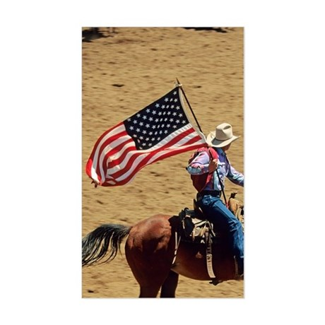 USA flag at rodeo opening cere Sticker (Rectangle)