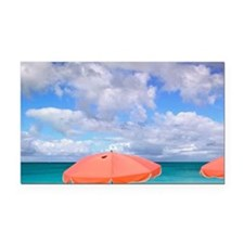 Beach chairs on Grace Bayncia Rectangle Car Magnet