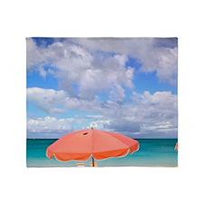 Beach chairs on Grace Baynciales Isl Throw Blanket