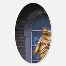 Golden statue on the exterior of th Sticker (Oval)