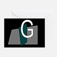 """G"" Teal Block Greeting Cards (Pk of 10)"