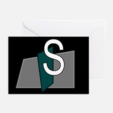 """S"" Teal Block Greeting Cards (Pk of 10)"