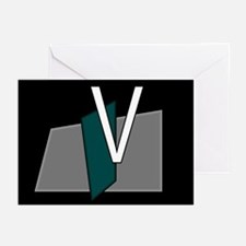 """V"" Teal Block Greeting Cards (Pk of 10)"