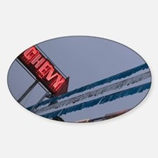 Chevy Car Dealer Neon Sign Old Stra Sticker (Oval)