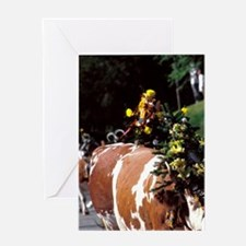 Innsbruck. Decorated cows coming dow Greeting Card