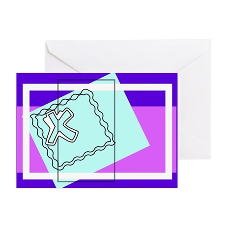 """""""X"""" Squiggly Square Greeting Cards (Pk of 10)"""