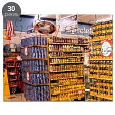 End cap displays at the end of the aisle in Puzzle