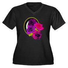 Retro Flower Women's Plus Size Dark V-Neck T-Shirt