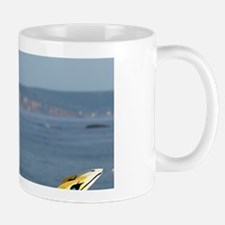 Perce. Wooden gannets with view of Bona Mug