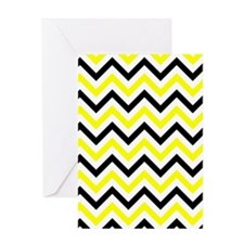 Black And Yellow Chevron Greeting Cards