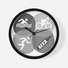 SwimBikeRunBeer-circles-2 Wall Clock