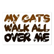 Cats walk all over me Postcards (Package of 8)