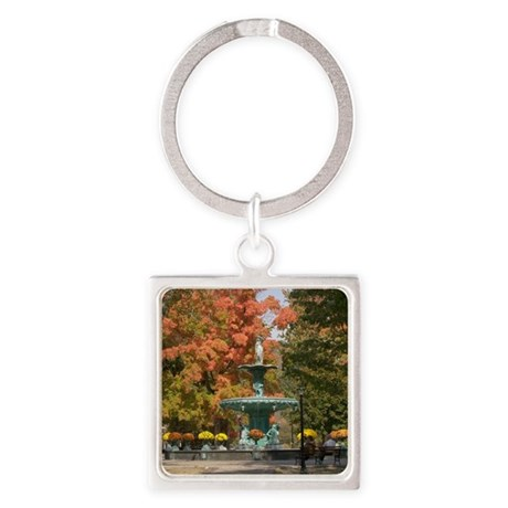Fountain Box Fall Square Keychain