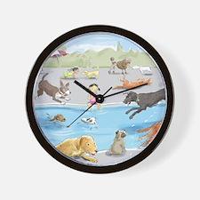 dog_pool_9X12_crp Wall Clock