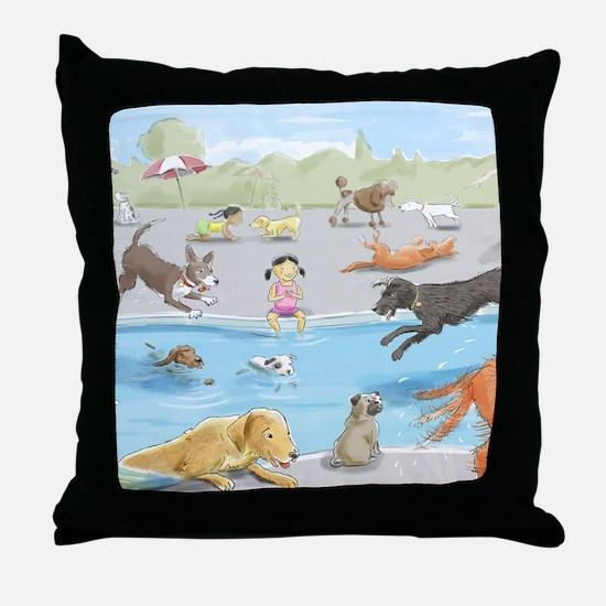 dog_pool_9X12_crp Throw Pillow