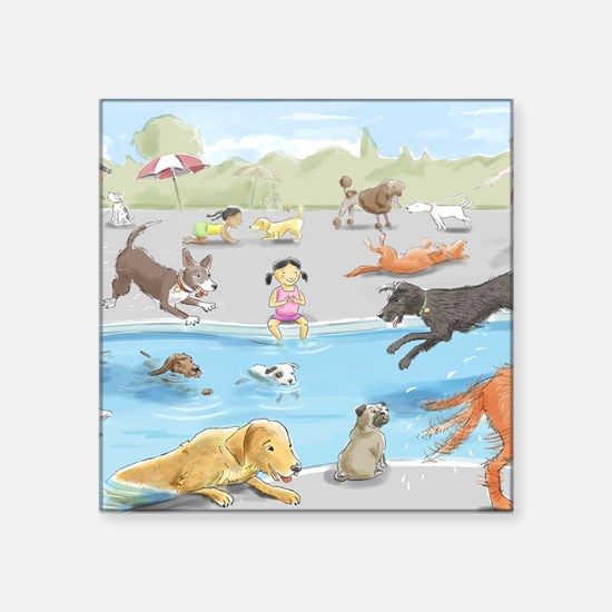 "dog_pool_9X12_crp Square Sticker 3"" x 3"""