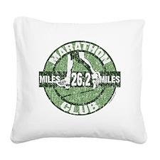 Marathon Club - Green Square Canvas Pillow