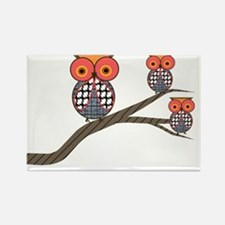 Retro Etsy Owls 3 on a branch Rectangle Magnet