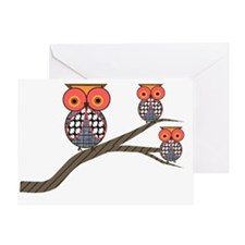 Retro Etsy Owls 3 on a branch Greeting Card