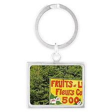Sign advertising fruits, vegeta Landscape Keychain