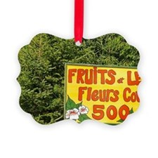 Sign advertising fruits, vegetabl Ornament