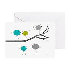 retro etsy birds on branch 35 Greeting Card