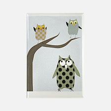 Retro Owls Rectangle Magnet