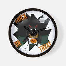 BlackDoxieHalloweenShirt1 Wall Clock