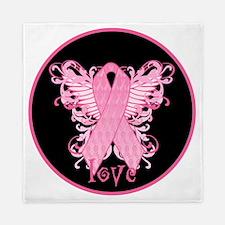 PinkRibLoveWingsBrT Queen Duvet