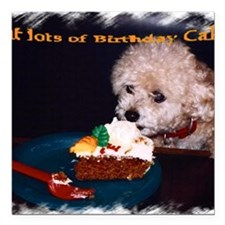 "cake card inside Square Car Magnet 3"" x 3"""