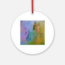 flower fairy FRAMED TILE Round Ornament