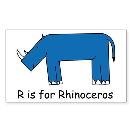 R is for Rhino Rectangle Sticker