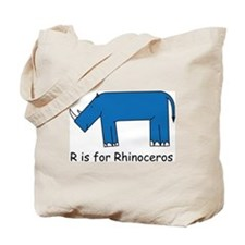 R is for Rhino Tote Bag