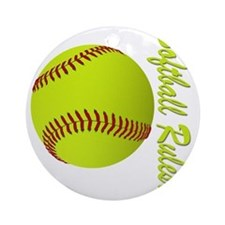 softball rules Round Ornament
